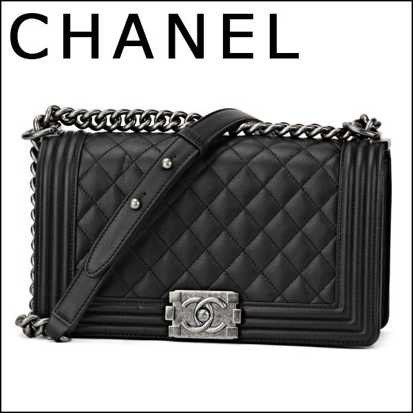 Chanel shoulder bags CHANEL A67086 Y09953 94305 bag boy channel BOY CHANEL  MEDIUM LAMBSKIN FLAP BAG Womens BLACK Black Black CC antique chain Chic Chic 2c6d0ae55d