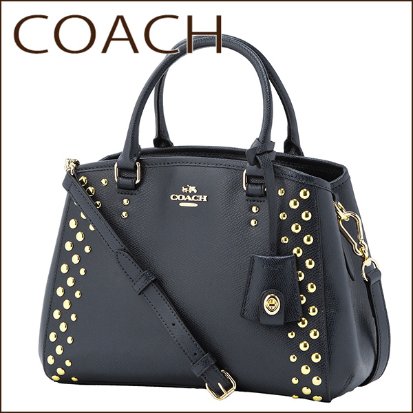 Coach Outlet Shoulder Bags F35217 Immid Mini Margot Bag Carryall Women S Midnight Dark Navy Blue Handbags Studded 2way Simple Cute