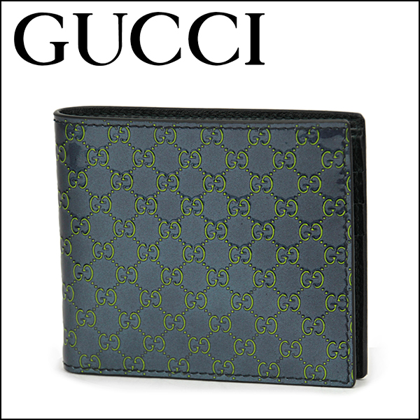 55bd32f7aaf Gucci two fold wallet GUCCI 145754 AR91R4072 wallet guccissima SHIMA GUCCI  mens NAVY BLUE GREEN Navy green GG guccissima embossed patent leather ...