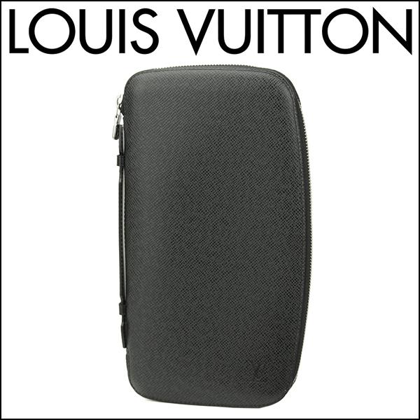ルイヴィトン 長財布(ラウンドファスナー) Louis Vuitton M30652 財布 タイガ TAIGA アトール メンズ ARDOISE(アルドワーズ) ブラック 黒 【 送料無料】