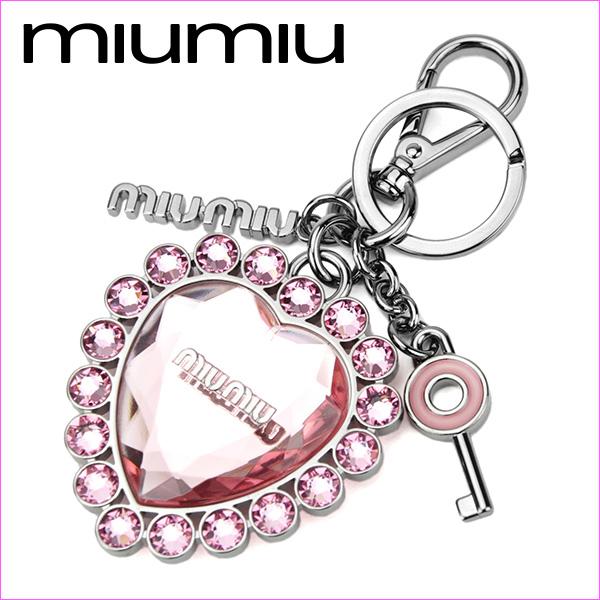 Miu Miu key ring MIU MIU 5ARH93 2BA8 F0028 brand small Crystal CRYSTAL  women s ROSA (Rosa) pink gunmetal Swarovski heart key logo charm glitter  cute 83c8b598e33da