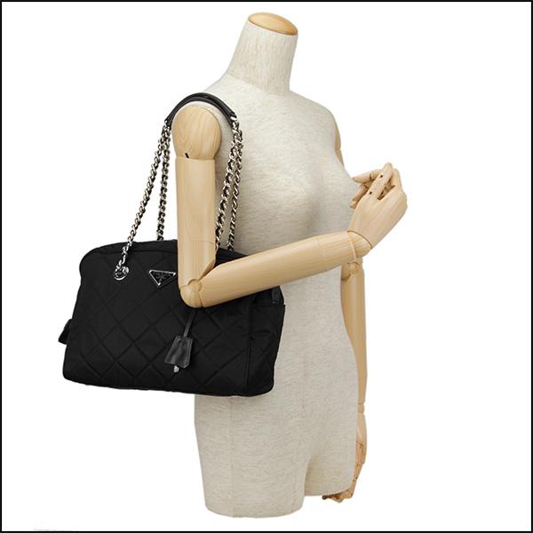 普拉达手提包PRADA BL0903 2AS3 F0002 baggutesuto TESSUTO IMPUNTU女士NERO(Nero)黑色黑披肩2WAY绗缝标识铭牌三角形简单的高雅