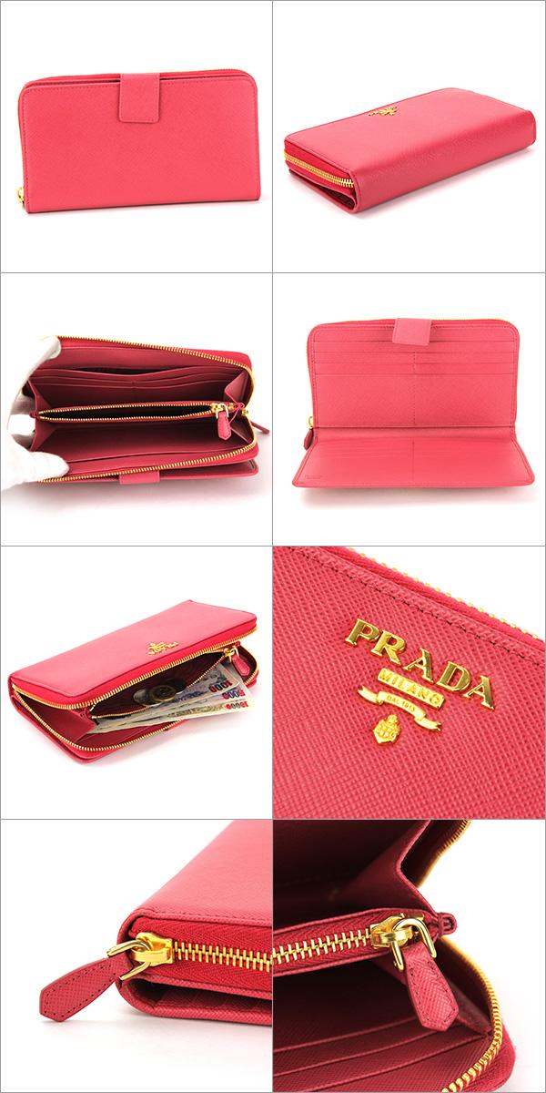 프라다장 지갑(라운드 패스너) PRADA 1 M1348 QWA F0505 지갑 사피아노메탈 SAFFIANO METAL 레이디스 PEONIA(피오니아) 핑크형 밀기 레더 심플