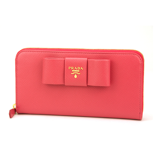 3d5acdb8fb38 Prada PRADA saffiano fiocco FIOCCO SAFFIANO ZTM 1 m 0506 F0505 purses  amp   accessories long wallet ladies PEONIA (Peoria) pink zip around Ribbon