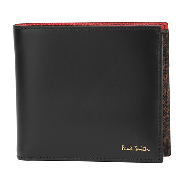 【最大3000円OFFクーポン配布中】 ポールスミス 2つ折り財布 PAUL SMITH ATXC 4833 W856 79 財布 レオパードプリント LEOPARD PRINT BILLFOLD AND COIN WALLET メンズ BLACK ブラック 黒/レッド/ブラウン アニマル ヒョウ柄 クール シック【 送料無料】