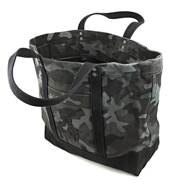 Polo Ralph Lauren tote bag POLO RALPHLAREN 405589311 001 pony BIG PONY BIG PONY  TOTE bag unisex BLACK CAMO (tolling) grey embroidered logo Camo pattern ...