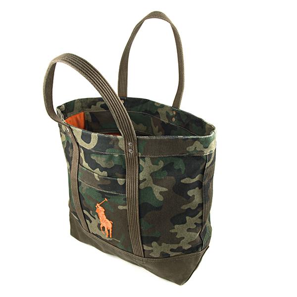 Polo Ralph Lauren tote bag POLO RALPHLAUREN 405589311 002 pony BIG PONY BIG  PONY TOTE bag unisex GREEN CAMO (green camouflage) khaki embroidered logo  Camo ...