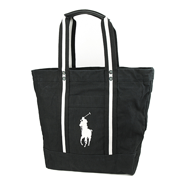 Polo Ralph Lauren tote POLO RALPHLAUREN 405594909 002 bag pony BIG PONY BIG  PONY TOTE unisex BLACK / white embroidered logo vintage men\u0027s casual  simplicity