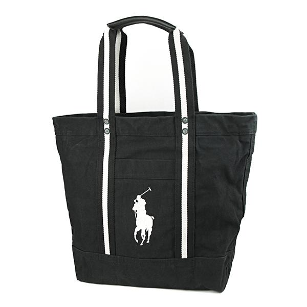 Polo Ralph Lauren tote POLO RALPHLAUREN 405594909 002 bag pony BIG PONY BIG  PONY TOTE unisex BLACK / white embroidered logo vintage men\u0027s casual  simplicity