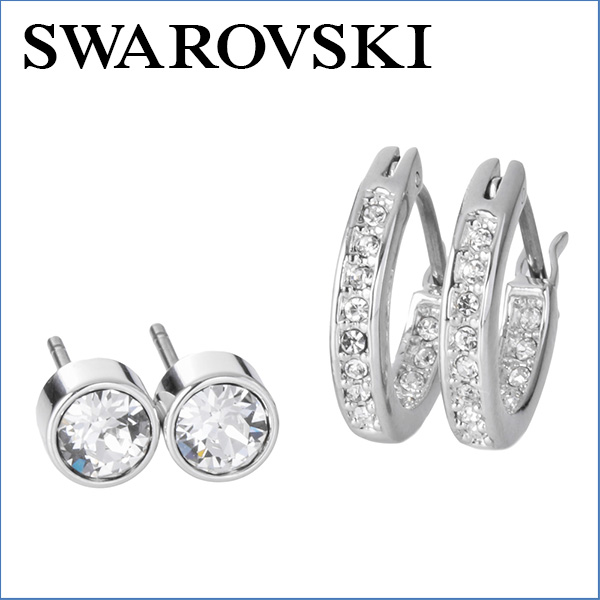 Swarovski Earrings 5113770 Accessories Canvas Boxed Stud Earring Set Las Silver Clear Mini Frp Hoop 2 Pieces Two Pairs