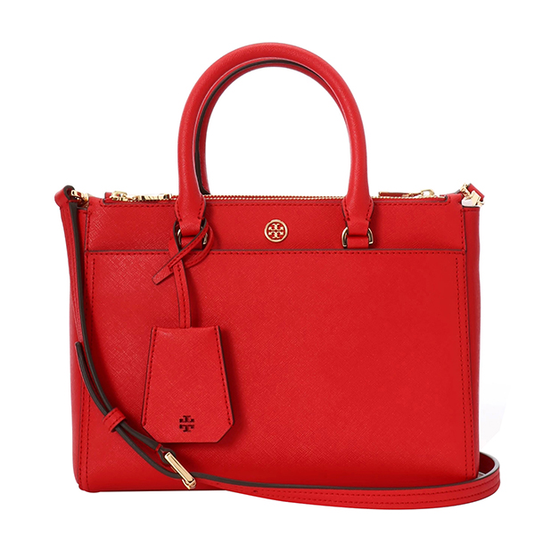 【10%OFFスーパーSALE対象☆】トリーバーチ ハンドバッグ TORY BURCH 46331 612 バッグ ロビンソン ROBINSON SMALL DOUBLE-ZIP TOTE レディース BRILLIANT RED レッド 赤 ダブルTロゴ 2WAY クラシカル【 トリバーチ 送料無料】
