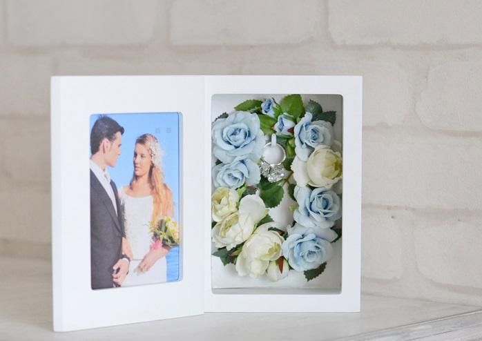【リングピロー 完成品 送料無料】リングピロー・写真たて・フォトフレーム・花電報・結婚のお祝い、贈り物やプレゼント・サムシングブルーのリース