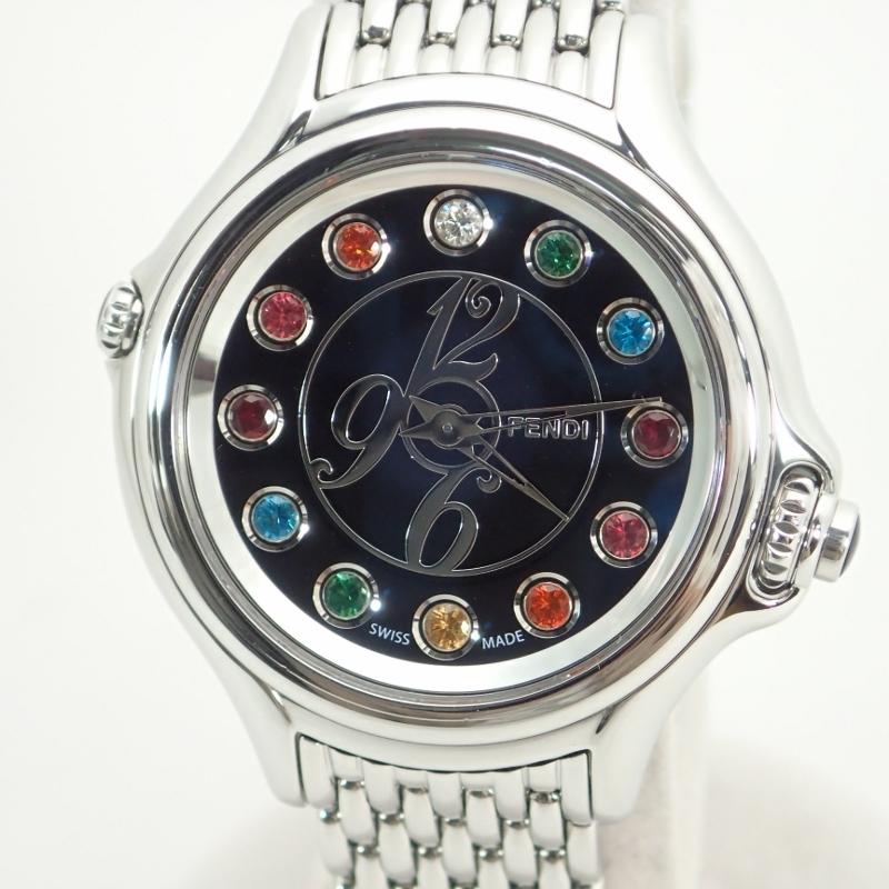 フェンディ【FENDI】SSクレイジーカラットレディースクォーツ腕時計黒文字盤*10500L【中古】