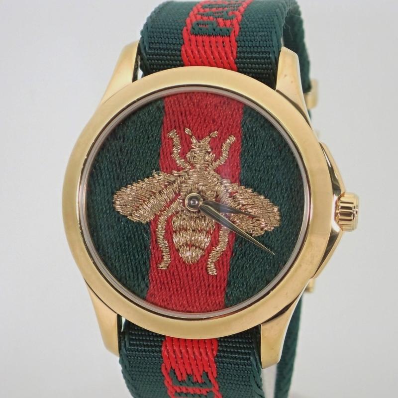グッチ【GUCCI】ル マルシェ デ メルヴェイユ ミディアム ウォッチ(38mm)メンズクォーツ腕時計*YA126487【中古】