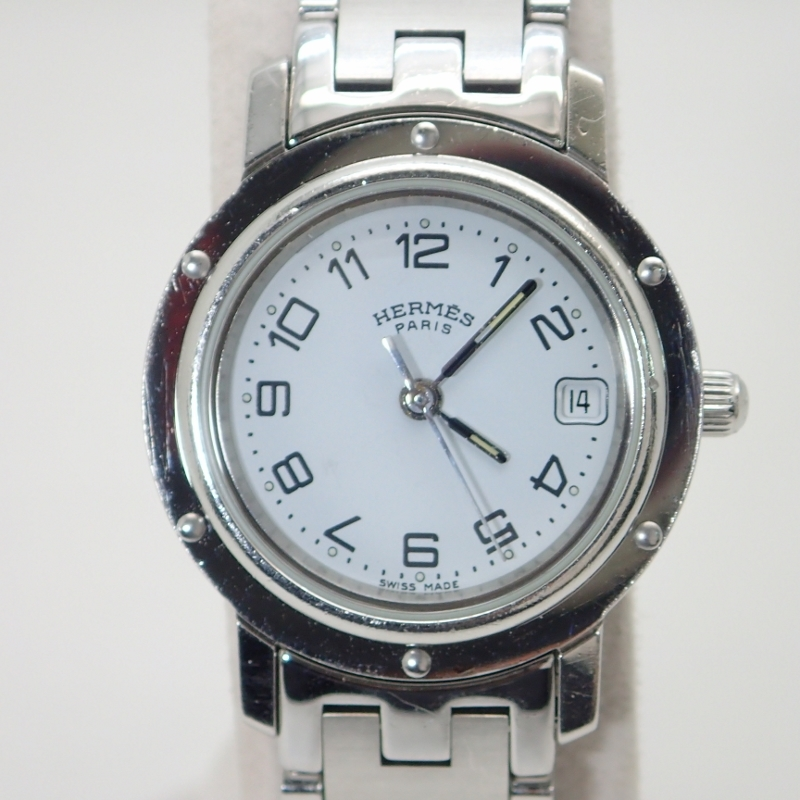 エルメス【HERMES】クリッパーSS白文字盤レディースクォーツ*CL4.210腕時計【中古】