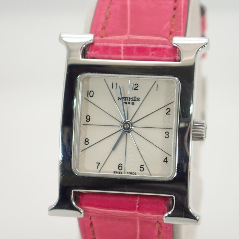 エルメス【HERMES】HウォッチクロコレザーベルトSSレディースクォーツ腕時計*HH1.210【中古】