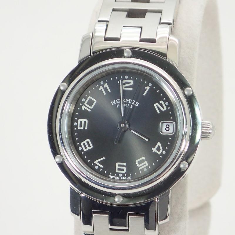 エルメス【HERMES】クリッパーSSグレー文字盤レディースクォーツ*CL4.210腕時計【中古】