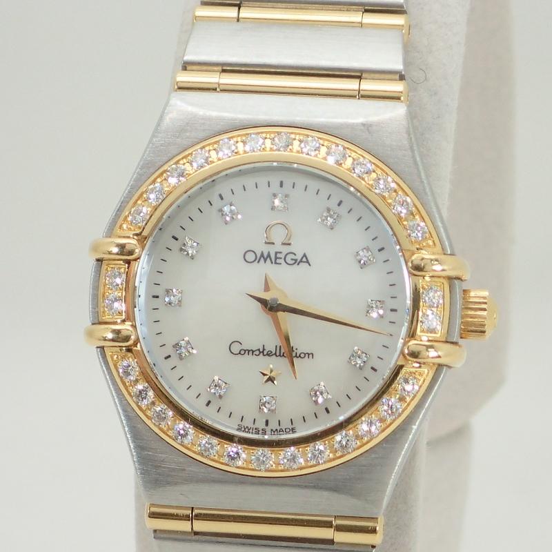 オメガ【OMEGA】SS/K18ダイヤベゼルダイヤ12Pコンステレーションミニレディースクォーツ腕時計シェル文字盤*1267.75.00【中古】
