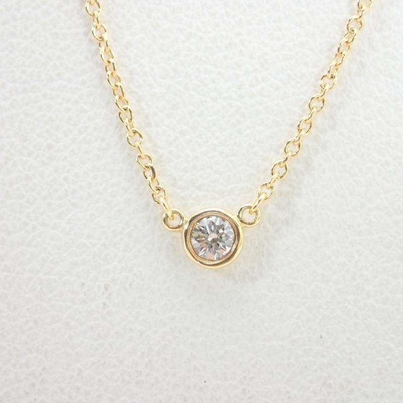 ティファニー【TIFFANY&Co.】750(K18)イエローゴールドダイヤ1Pバイザヤードネックレス直径約3.8mm(枠含む)【中古】