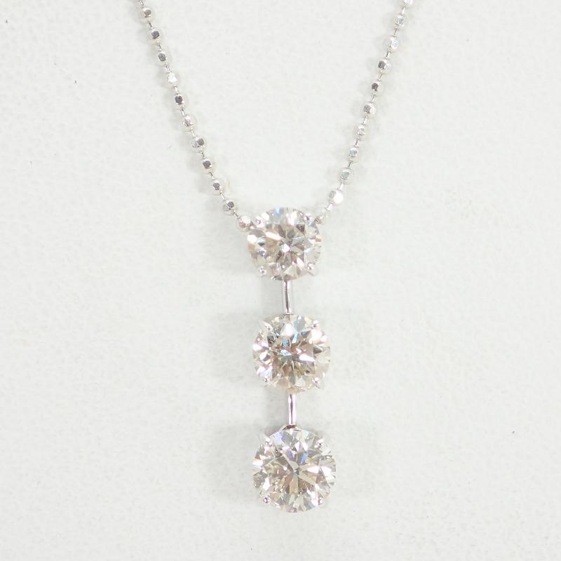 K18WGダイヤモンド1.00ctホワイトゴールドスリーストーンネックレス1カラット【中古】【ノンブランドジュエリー】【店長のおすすめ】