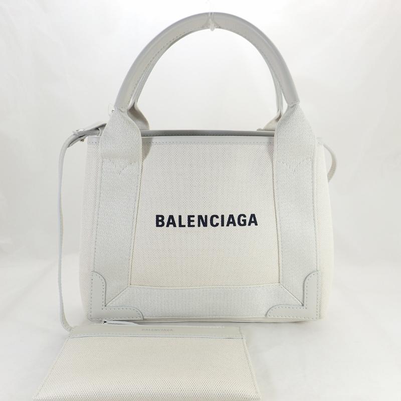 バレンシアガ【BALENCIAGA】ネイビーカバスXSキャンバストートバッグハンドバッグナチュラルxホワイト*390346ポーチ付き【中古】