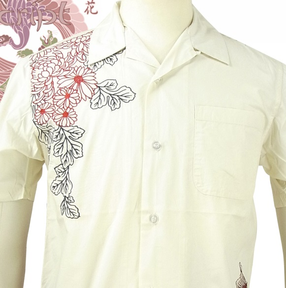 花旅楽団 はなたびがくだんスクリプト CS-503 枝垂れ菊に鯉柄刺繍半袖シャツ 和柄