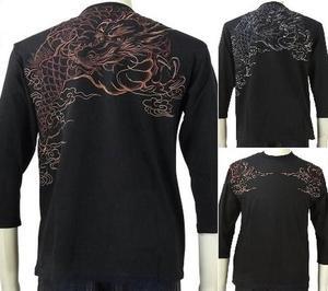 花旅楽団 はなたびがくだんスクリプト刺繍7分袖Tシャツ PTX-003 雲竜/和柄