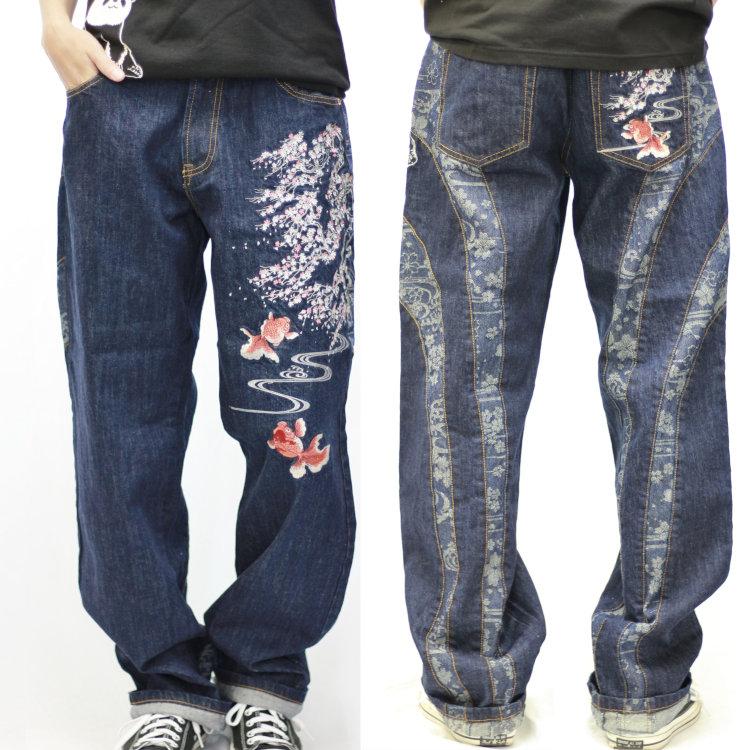花旅楽団 はなたびがくだんスクリプト 桜金魚刺繍ジャガード切替デニムパンツ SP-802 和柄 和