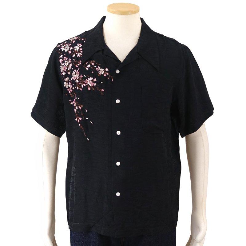 花旅楽団 桜刺繍ジャガード半袖開襟シャツ SS-001 /和柄 和 クールビズ はなたびがくだん・スクリプト