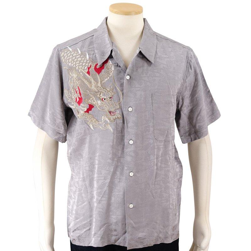 花旅楽団 龍刺繍ジャガード半袖開襟シャツ SS-003 /和柄 和 クールビズ はなたびがくだん・スクリプト