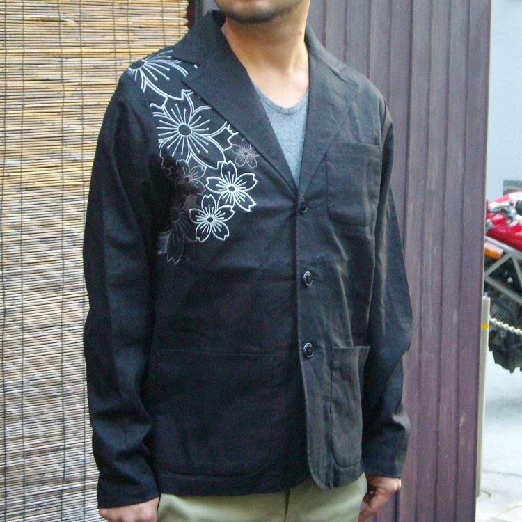 花旅楽団 はなたびがくだんスクリプト幾何学桜刺繍麻混テーラードジャケット STJ-502/和柄 和 きれいめ