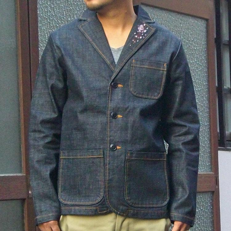 花旅楽団 はなたびがくだんスクリプト桜刺繍デニムテーラードジャケット STJ-503/和柄 和 きれいめ/大きいサイズXXL 3L