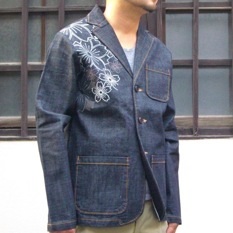 花旅楽団 はなたびがくだんスクリプト幾何学桜刺繍デニムテーラードジャケット STJ-504/和柄 和 きれいめ/大きいサイズXXL 3L