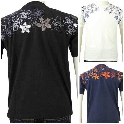 花旅楽団 はなたびがくだんスクリプト半袖Tシャツ STX-007 幾何学桜/和柄
