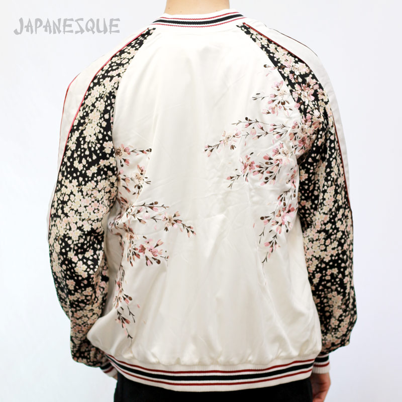 JAPANESQUE ジャパネスク 桜刺繍ちりめん袖スカジャン 3RSJ-301/和柄