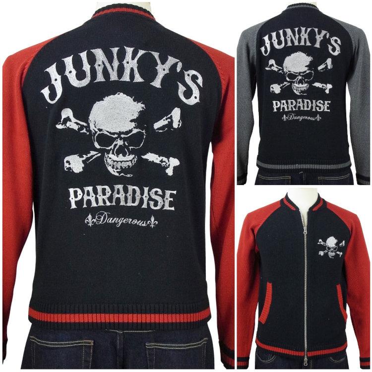 ジャンキーズパラダイス スカル刺繍ジップニット JKT-501/ロック バイカー