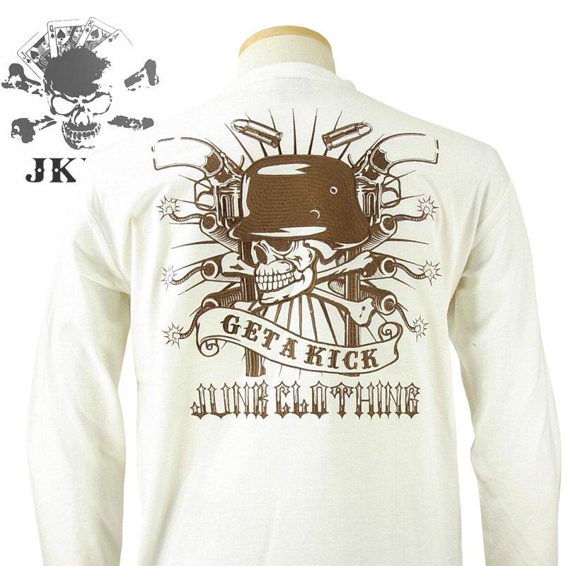 JUNKY'S PARADISE ジャンキーズパラダイス JLT-551 ジャーマンスカル刺繍長袖Tシャツ アメカジ・バイカー・ロック・スカル SからXXL(3L)