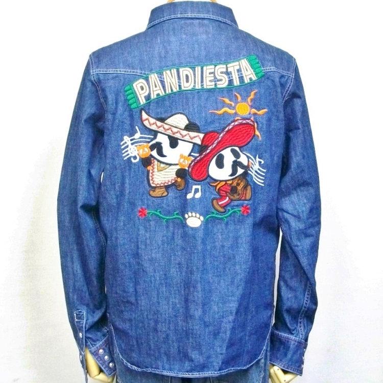 ドットボタンまでパンダです アウトレット パンディエスタ 驚きの値段で PANDIESTA JAPANデニムウエスタンシャツ メキシカンパンダ バイカー 510700 アメカジ