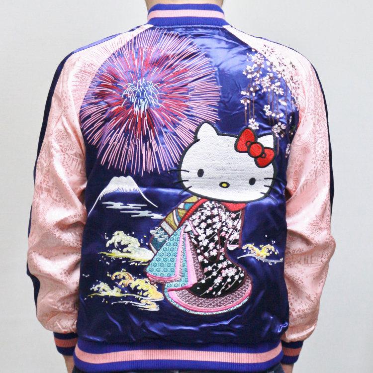 ハローキティ 刺繍スカジャン HKSJ-003 花火花魁 サンリオ 和柄