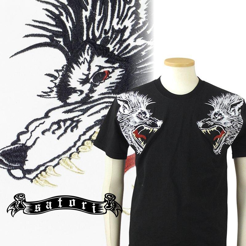 <雑誌ジャポニカBlood掲載>SATORI さとり双頭狼半袖Tシャツ GST-651 和柄 大きいサイズXXL 3L