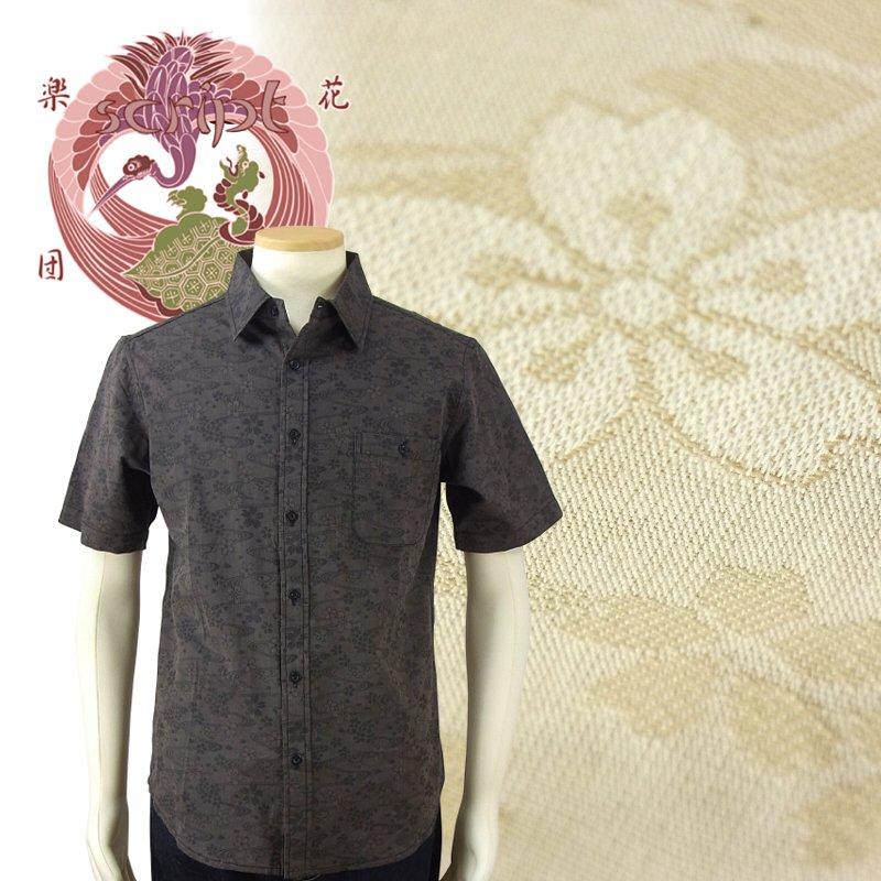 花旅楽団 はなたびがくだん スクリプト半袖ジャガードシャツ SJS-601 和柄 大きいサイズXXL 3L