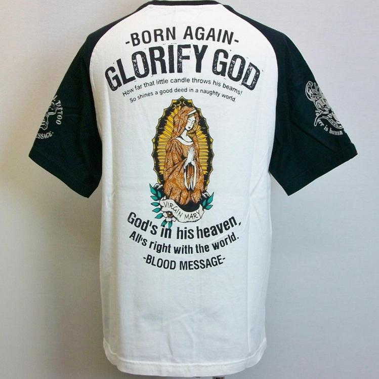 BLOOD MESSAGE ブラッドメッセージ半袖Tシャツ BLST-610 Glority GOD/ロック スカル タトゥー マリア/アメカジ バイカー