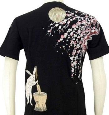 花旅楽団 はなたびがくだんスクリプト刺繍半袖Tシャツ ST-803 桜とウサギ