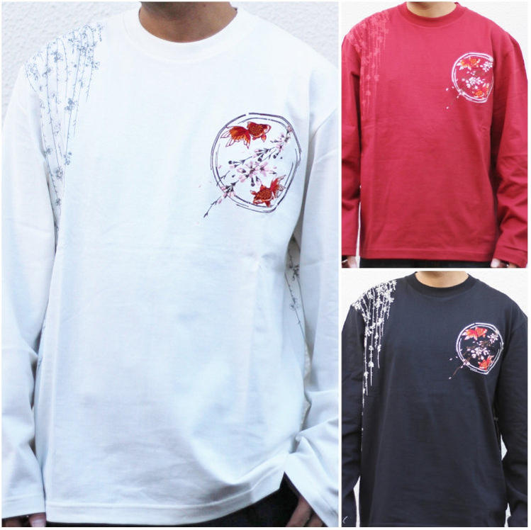 8f887e86e2 Cherry Blossom equity and goldfish long sleeve T shirt 3RLT-503 / Ryu