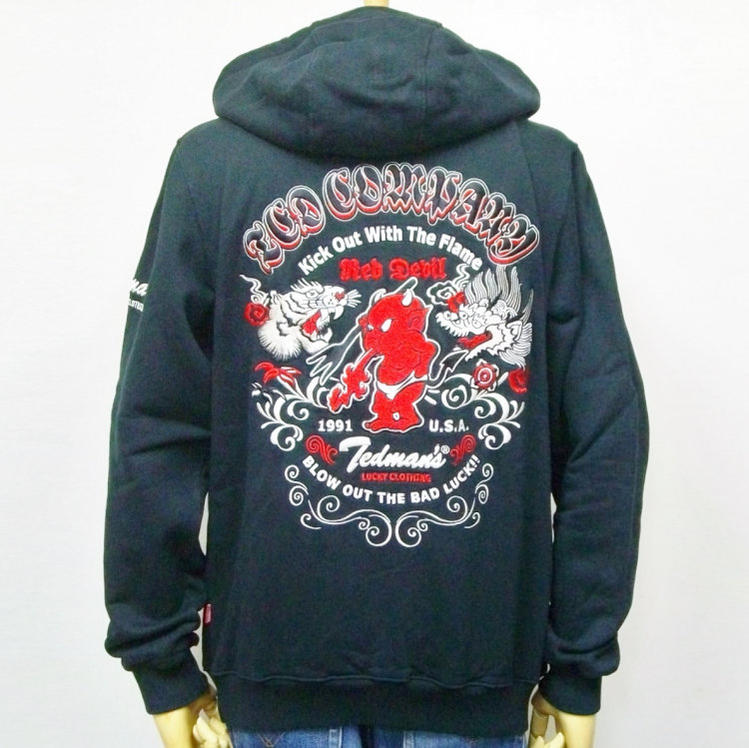 Size XXL 3L that a TEDMAN Ted man total embroidery sweat shirt parka  TDSP-147 tiger & dragon American casual bikie sum pattern has a big