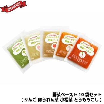 スムージー 酵素 ダイエット 50℃洗い&低温蒸し 野菜ペースト10袋セット(りんご ほうれん草 小松菜 とうもろこし)