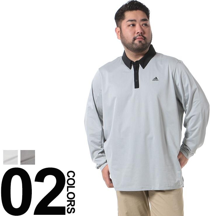 ポロシャツ メンズ 大きいサイズ 長袖 climaheat 裏起毛 胸ロゴプリント バイカラー 1XL 2XL ホワイト/グレー adidas アディダス