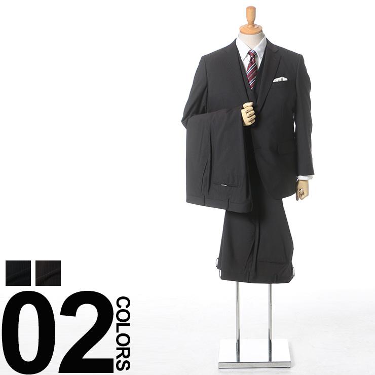 大きいサイズ メンズ VITTORIO VENETO ストレッチ ウール混 シャドーストライプ ノータック ツーパンツ ベスト付き スーツ[KB体 KBE体 2KE体]サカゼン ストライプ スリーピース|ツーパンツスーツ