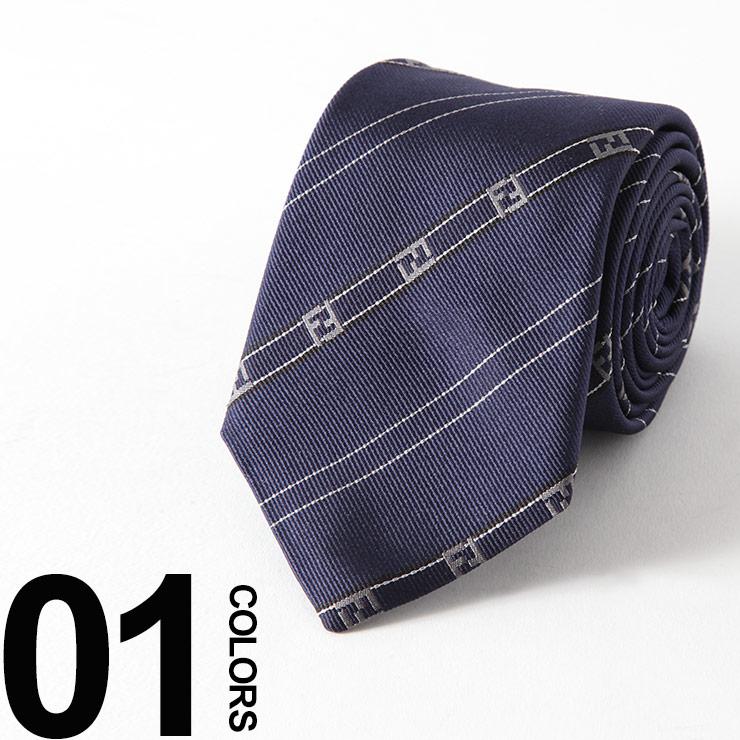 フェンディ FENDI ネクタイ シルク BLUE ズッカ ストライプ ブランド メンズ ビジネス 雑貨 FDA2SQF0PJ4