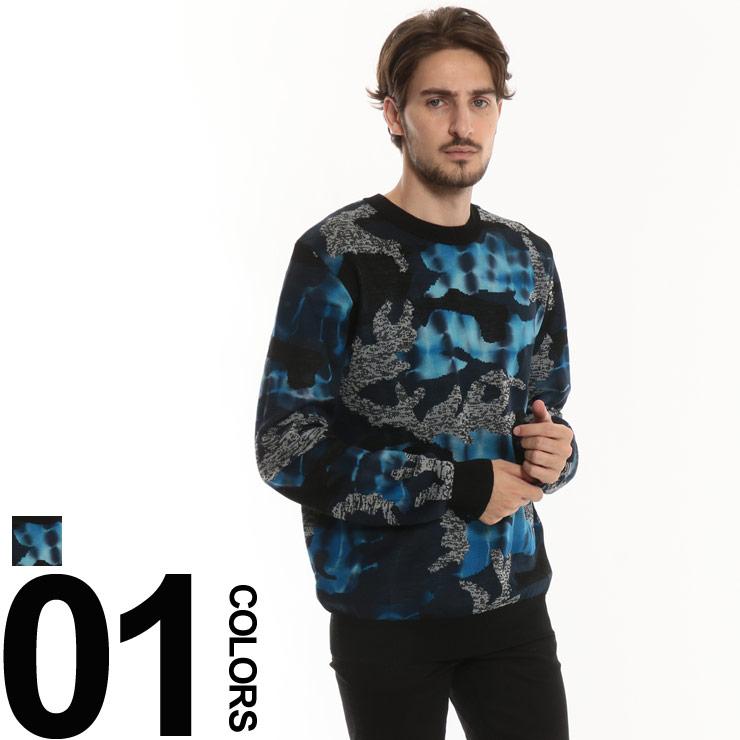 ディーゼル DIESEL ニット セーター 迷彩 クルーネック 総柄 メンズ ブランド トップス コットンニット カモフラ グラフィック DSCPRGDASM